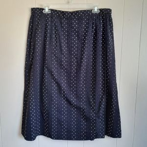 Nwt Talbots Wrap Skirt A-line Swiss Dot Navy 16
